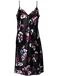 Ladies Famous Make Satin Chemise Nightdress. Black With Purple And Ivory  Poppy Design. Sizes 62c6559d2