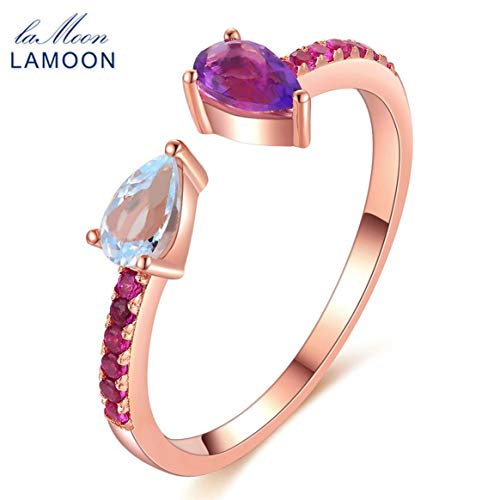 LAMOON Natural Topaz Amethyst Ring 925 Sterling Silber Damen Rose Gold Farbe Schmuck RI043 Resizable Ring Zubehör - Rose Gold - Teardrop Amethyst Ringe