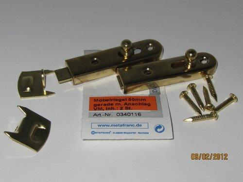 Preisvergleich Produktbild Möbelriegel 50 mm gerade, mit Anschlag, vermessingt, 2 Stk., 0340116