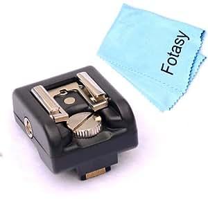 SANEX Fotasy Hot Shoe Adaptateur pour Sony NEX - 3 NEX - 5 NEX-C3 NEX - 5N NEX-F3, NEX - 5R avec objectif Premier chiffon de nettoyage (Noir/Gadgets consommateur appareils électroniques