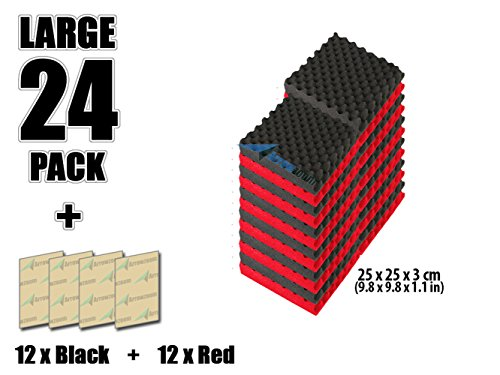 super-dash-combination-24-pack-of-25-x-25-x-3-cm-red-black-egg-crate-acoustic-home-studio-soundproof