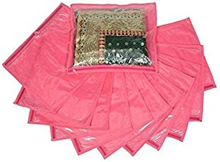 Ridhi & Sidhi Pink Singal Saree/Suit Cover Pack of 10. (Wedding Collection Gift)