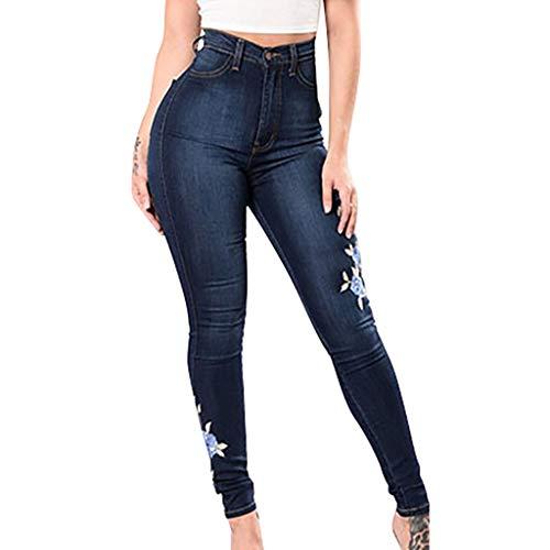 MOTOCO Damen Denim Skinny Ripped Slim Jeans Hohe Taille Knopf Tasche Gestickte Blume Kleine Füße Elastische Hose(M,Blau)