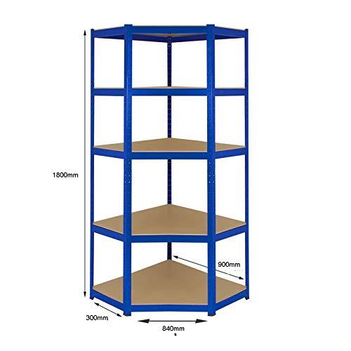 Schwerlast-Eckregal aus Stahl, 275 kg pro Regal, 5 Ebenen, 1800 mm H x 900 mm B x 840 mm T x 300 mm