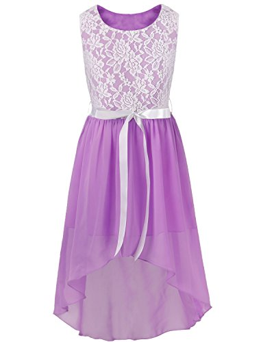 d Festlich Tüll Sommer Kleid Blumenmädchen Hochzeit Festzug Bekleidung mit Schleife 116-164 Lila 140 (Schönes Kleid Mädchen)