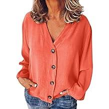 f21b8607fb3 Qingsiy Camisas Mujer Blusa Suelta De Mujer Manga Larga Camiseta Color  Sólido De Tops Casuales Camisa