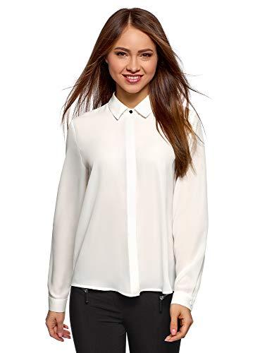 oodji Ultra Damen Bluse Basic aus Fließendem Stoff, Weiß, DE 40 / EU 42 / L