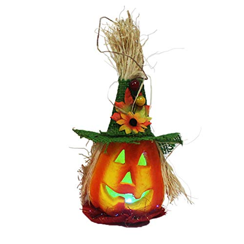 Cossll498 Hollow Pumpkin with Hat LED Light Lamp Lantern Halloween Home Party Bar Decor - Green Halloween Green Lantern