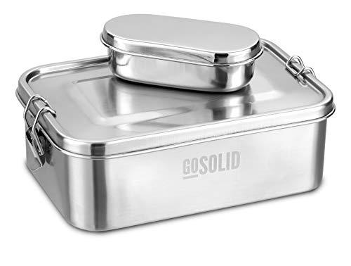GoSolid Lunchbox Large 1750 ml inkl. Snackbox, Edelstahl, TÜV geprüft, mit Verschluss, 1 Fach, Metall gebürstet   Brotdose   Vesperbox   Bento Box