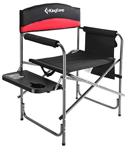 KingCamp Campingstuhl Regiestuhl mit Seitenablage und Seitentasche belastbar bis 180 kg