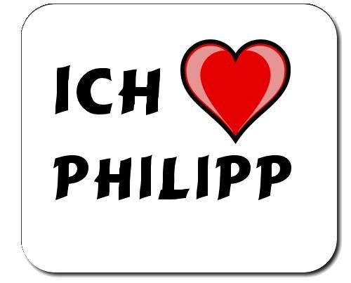 Tapis de souris avec inscription Ich liebe Philippe (prénom/nom de famille/surnom)