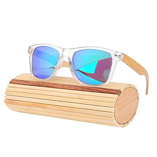 Polarized UV400 Schutzgläser Handmade Bamboo Wood Sonnenbrillen Universal Sonnenbrillen für Männer und Frauen Sportbrillen (Farbe: Transparent + Natur + Eisblau),Transparent + Natur + Eisblau