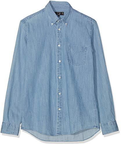 MERAKI Camisa Vaquera de Manga Larga Ligeramente Entallada Hombre, Azul (Light Blue), Large
