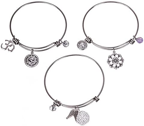Bracelet extensible Bracelet à breloques en acier inoxydable plaqué argent–spirituelle OM–Lot de 3
