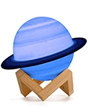 15cm Saturn Planet Lamp, AMZJUPWM 3D Printing 16 Colors Lights with Stand, Touch Control and USB Rechargeable Portable Night Light for Home Decoration and Gifts for Children, Friends, Lover (Saturn)