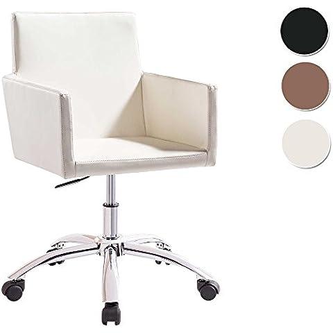 Silla de escritorio para despacho modelo QUICK base ruedas color blanco – Sedutahome