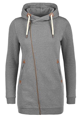 DESIRES Vicky Zip Hood Long Damen Lange Sweatjacke Kapuzenjacke Sweatshirtjacke Mit Kapuze Und Fleece-Innenseite, Größe:L, Farbe:Grey Melange (8236)