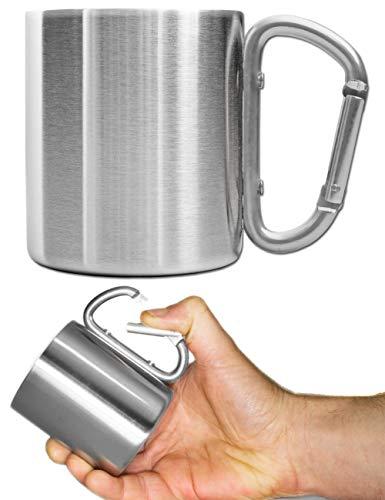 Outdoor Saxx® - Camping-Tasse, Outdoor-Becher, Metall-Becher, mit geschraubtem Karabiner-Griff, Edelstahl, Wandern, Trekking, Arbeit, 250 ml, Silber