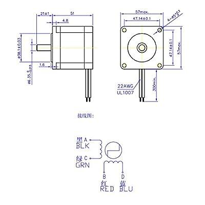 Lovinn Hybrid Stepper Motor NEMA23 1.857 Two Phase 51mm 10.1kg.cm 2.8A Step Motor