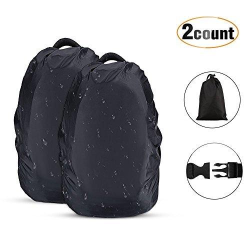 Agptek 2 pezzi custodie antipioggia per zaino, copertura custodia protettiva per zaino 45l-55l anti-polvere per camminare all'aperto campeggio viaggio escursionismo, nero