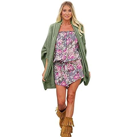 WODDU Femme Gros Gilet Ouvert Tricot Uni Cardigan Lâche Mode Laine Oversize (Type 2-Vert)