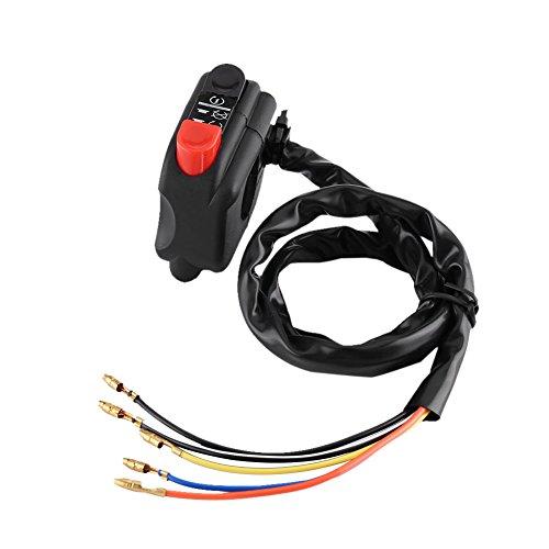Interrupteur de Guidon, Keenso Commutateur de Commande de Guidon de Moto Démarreur Electrique Projecteur On Off Etanche 22mm Noir