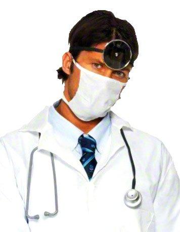 erdbeer-clown - Herren Arzt Doktor Kostüm - Kittel Mundschutz Stethoskop, weiß, L