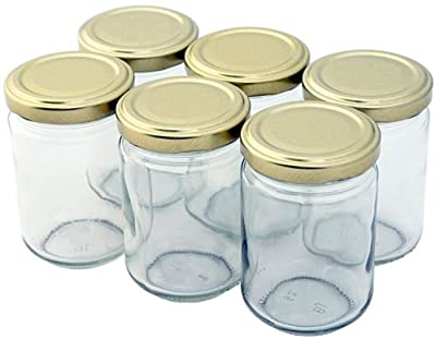 Nutley's 156ml Small Clear Glass Jam Jar with Screw-Top Lid - Gold(Pack of 24) by Nutley's