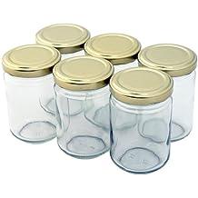 Nutley's - Lote de 24 tarros de mermelada transparentes (con tapa de rosca, 156 ml), color dorado