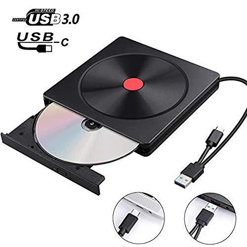 YKSBOOT Externes CD-DVD-Laufwerk, Typ C und USB 3.0 Ultraflaches tragbares USB-CD-RW- / DVD-RW-Lesegerät, geräuscharm für Laptop, Desktop, Mac, iOS, Windows 10/8/7 / XP/Linux,Schwarz
