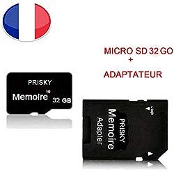 "pour Huawei Nova (5"") - Carte mémoire Micro SD 32 Go Classe 10 + Adaptateur SD - PRISKY® Universel Protection"