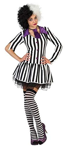 Ladies Crazy Ghost Black and White Striped Dress Outfit. Sizes 8 to 18