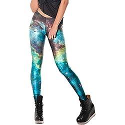 Nuofengkudu Mujer Estampados Leggins Largos Elasticos Cintura Alta Lisos Mallas Deporte Colores Hippie Transpirable Push up Yoga Pantalones (Verde Galaxia,Talla única)