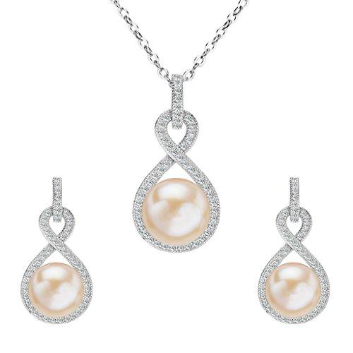 Clearine Damen 925 Sterling Silber Hochzeit CZ Pink Süßwasser-Zuchtperle Unendlichkeit Halskette Ohrringe Schmuck Set Klar Rhodium-Ton