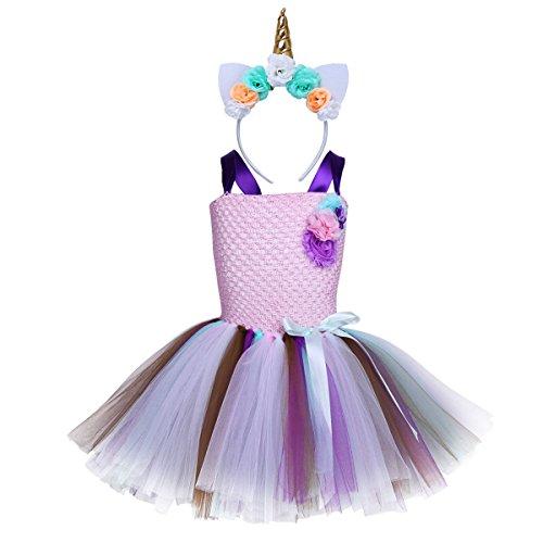 Tiaobug Mädchen Einhron Kostüm Outfits mit Haarreif Tütü Kleid Schulterfrei Träger Kleid Regenbogen Rock Festlich Karneval Fasching Cosplay Verkleidung Rosa Top+ Lila Träger 104/3-4 Jahre