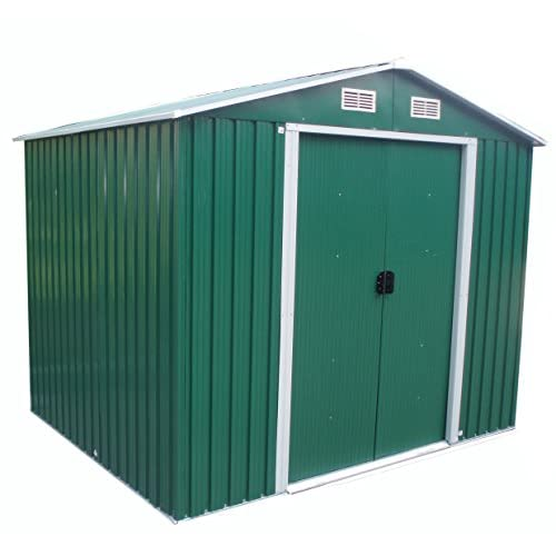 WestWood Garden Shed Metal Apex Roof 10FT X 8FT Outdoor Storage With Free Foundation Green