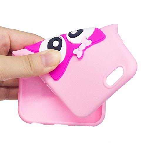 iPhone 6 Plus Custodia, iPhone 6S Plus Cover, JAWSEU Apple iPhone 6 Plus / 6S Plus Protezione Disegno Creativo 3D Sollievo Cartone Animato Silicone Custodia Cover Case Caso TPU Morbida Flessibile Gomm 3D Gufo