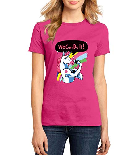 we can do it Funny Letter Printing Women Short Sleeve t Shirts Brand Harajuku Unicorn t-Shirt sexy Slim Homme o Neck Shirts 2019 Rose red M -