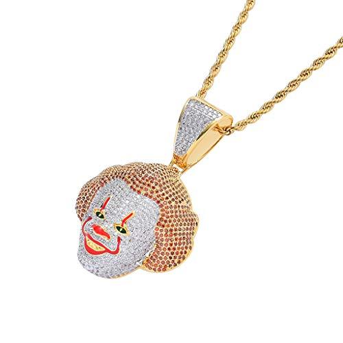 FIZZENN Unisex Exquisite Stephen King Es Clown Anhänger Kupfer Und Micro-Intarsien Zirkon Hip Hop Halskette mit 60 cm Edelstahl Seil Kette