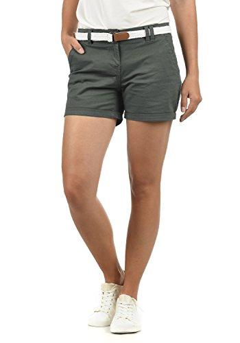 DESIRES Chanett Damen Chino Shorts Bermuda Kurze Hose mit Gürtel Stretch, Größe:34, Farbe:Dark Grey (2890)