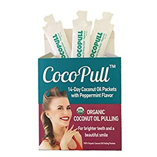 AVIVA PURE CocoPull Organic Coconut Oil Pulling - for Natural White Teeth with 14 Unrefined Coconut Oil Pulling Packets with Organic Peppermint Oil