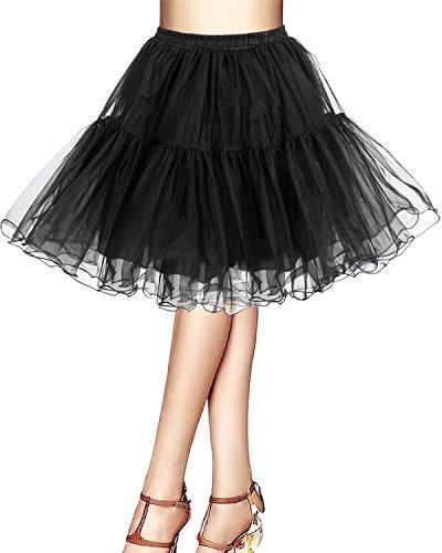 Bridesmay Kurz Retro Petticoat Rock 1950er Vintage Tutu Ballett Unterkleid Schwarz S (Tabelle Tüll Rock)