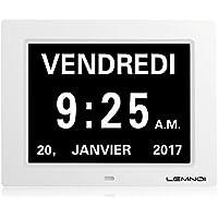 """Lemnoi 8"""" Pouce LCD Horloge Numérique Calendrier Date Jour Heure Horloge Non-Abrégée Auto Dimming 8 Langues HD Display Rappel Alzheimer Les Personnes âgées Les Enfants"""