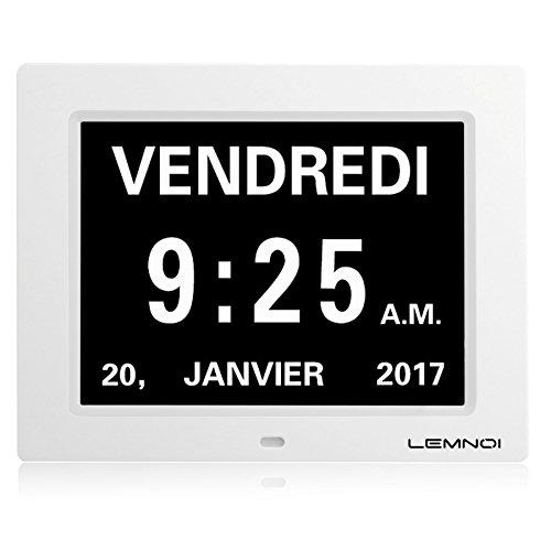 Lemnoi 8' Pouce LCD Horloge Numérique Calendrier avec Date Jour Et Heure Horloge Non-Abrégée Auto Dimming 8 Langues HD Display...