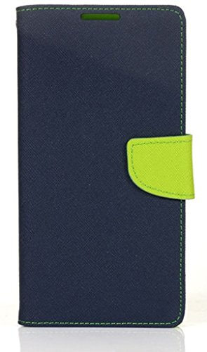 SCHOFIC Premium Fancy Wallet Diary with Card Slots [POCKETS] , Stand View and Magnetic Strap [LOCKING] Faux Leather Flip Stand Back Case Cover for Micromax A114 Canvas 2.2 - Navy Blue  available at amazon for Rs.225
