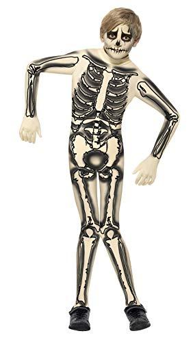 Smiffys, Kinder Jungen Second Skin Skelett Kostüm, Bedruckter Jumpsuit, Größe: L, 43026