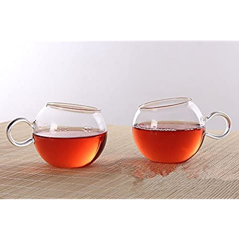 ChocoHoney Oblique bocca vetro tè e caffè tazze, set di 2 Crystal