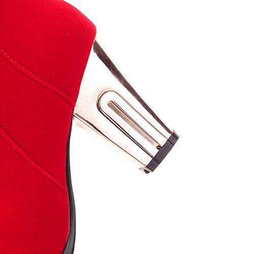 VogueZone009 Donna Puro Tacco Alto Punta Tonda Plastica Cerniera Stivali Rosso