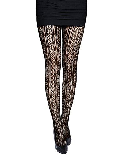 sourcingmap® Damen Muster Elastisch Taille Sexy Fischnetz (Design Floral Strumpfhose)