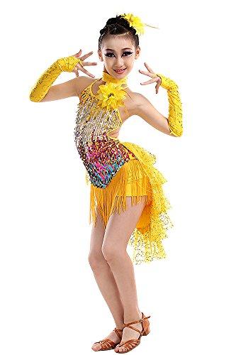 (KINDOYO Lateinamerikanischer Tanz lateinische Salsa Tango Ballsaal Tanzkleidung Troddel Tanzkostüme Kinder Mädchen)